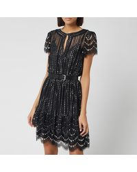 MICHAEL Michael Kors Belted Crystal-embellished Metallic Lace Mini Dress - Black