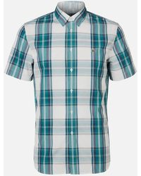 Lacoste Short Sleeve Check Shirt - Green