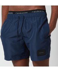 Calvin Klein Double Waistband Swim Shorts - Black