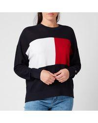 Tommy Hilfiger Icon Flag Crew Neck Sweatshirt - Blue