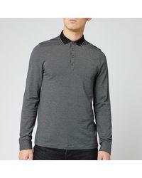 Ted Baker Cuptea Long Sleeve Striped Polo Shirt - Black