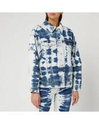 MSGM Bleached Denim Jacket - Blue