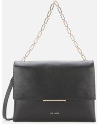 Ted Baker Bar Detail Leather Shoulder Bag - Black