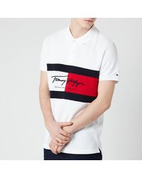 Tommy Hilfiger Slim Fit Autograph Flag Polo Shirt - White