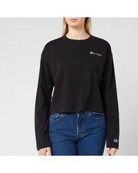 Champion Long Sleeve Crew Neck Cropped T-shirt - Black