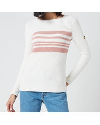 Barbour Downforce Knitted Jumper - White