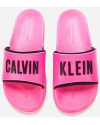 Calvin Klein Logo Slides - Pink