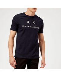 Armani Exchange Ax And Script Logo T-shirt - Blue