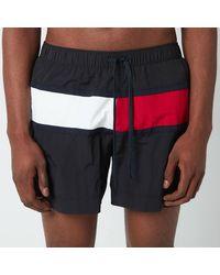Tommy Hilfiger Big Flag Medium Length Drawstring Swimshorts - Black