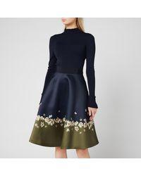 Ted Baker Lotis Pearl Printed Full Skirted Dress - Blue