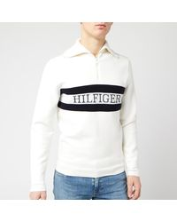 Tommy Hilfiger Chest Logo Zip Neck Top - White