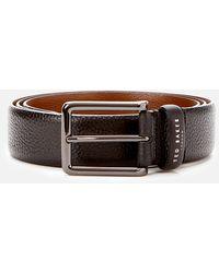 Ted Baker Cokonut Pebble Grain Leather Belt - Black