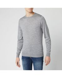 John Smedley Lundy 30 Gauge Extra Fine Merino Crew Neck Sweater - Grey