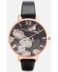 Olivia Burton Signature Floral Black Leather Strap Watch 38mm - Multicolour
