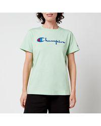 Champion Large Script Crew Neck T-shirt - Green