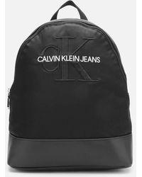 Calvin Klein Monogram Nylon Backpack - Black