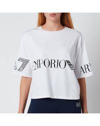 EA7 Train Shiny Crop T-shirt - White