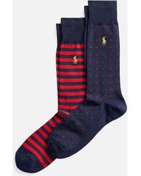 Polo Ralph Lauren Cotton Mixed Pattern 2 Pack Socks - Blue