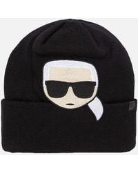 Karl Lagerfeld K/ikonik Embroidery Beanie - Black