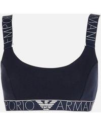 Emporio Armani Iconic Logoband Bralette Bra - Blue