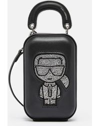Karl Lagerfeld K/ikonik Rhinestone Clutch Bag - Black