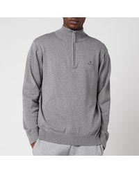 GANT Classic Cotton Half Zip Jumper - Grey