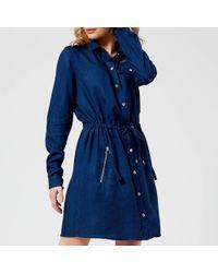 Versace Jeans - Drawstring Shirt Dress - Lyst