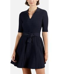 Ted Baker Aleee Knitted Collared Skater Dress - Blue