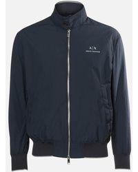 Armani Exchange Logo Blouson Jacket - Blue