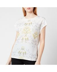 Ted Baker Sonjja Papyrus Printed Woven Front T-shirt - Natural