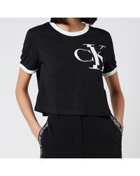 Calvin Klein Distorted Ck Pocket Ringer T-shirt - Black