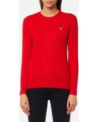 GANT - Stretch Cotton Cable Crew Jumper - Lyst