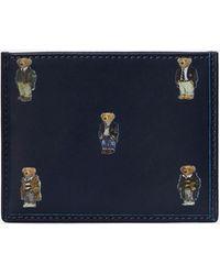 Polo Ralph Lauren Smooth Leather Bear Logo Card Case - Blue