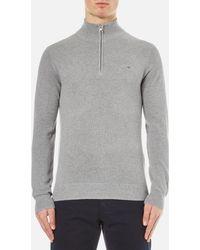 GANT - Cotton Pique Half Zip Sweatshirt - Lyst