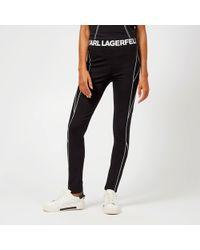Karl Lagerfeld - Logo Stretch Viscose Jersey Leggings - Lyst