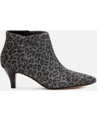 Clarks Linvale Sea Suede Heeled Ankle Boots - Gray