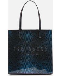 Ted Baker Jemacon Holographic Imitation Snake Large Icon Bag - Black
