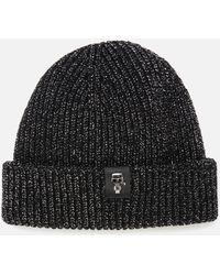 Karl Lagerfeld K/ikonik 3d Pin Metallic Beanie - Black