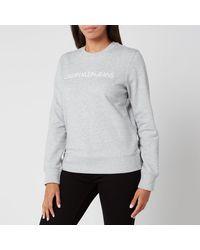 Calvin Klein Institutional Core Logo Crew Neck Sweatshirt - Grey
