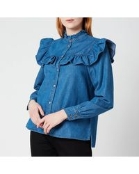Ted Baker Aviira Denim Button Front Top - Blue