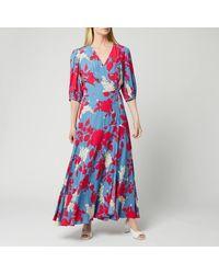 Calvin Klein Print 3/4 Sleeve Wrap Maxi Dress - Multicolour