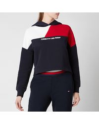 Tommy Sport Relaxed Color Block Hoodie - Blue