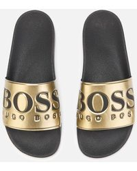 BOSS Solar Logo Slider In Gold - Metallic
