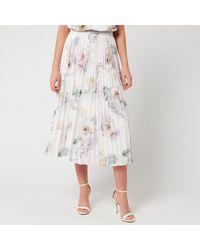 Ted Baker Maziiy Woodland Pleated Midi Skirt - White