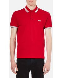 BOSS Green Men's Paddy Polo Shirt - Red