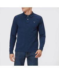 GANT - Contrast Collar Long Sleeve Pique Polo Shirt - Lyst