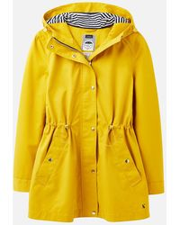 Joules Shoreside Waterproof A-line Coat - Yellow