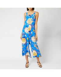 Whistles Exotic Floral Strappy Jumpsuit - Blue