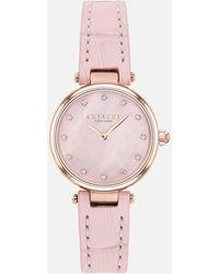 COACH Park Leather Strap Watch - Pink