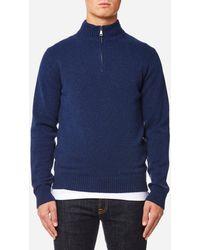 Hackett Lambswool Quarter Zip Sweater - Blue